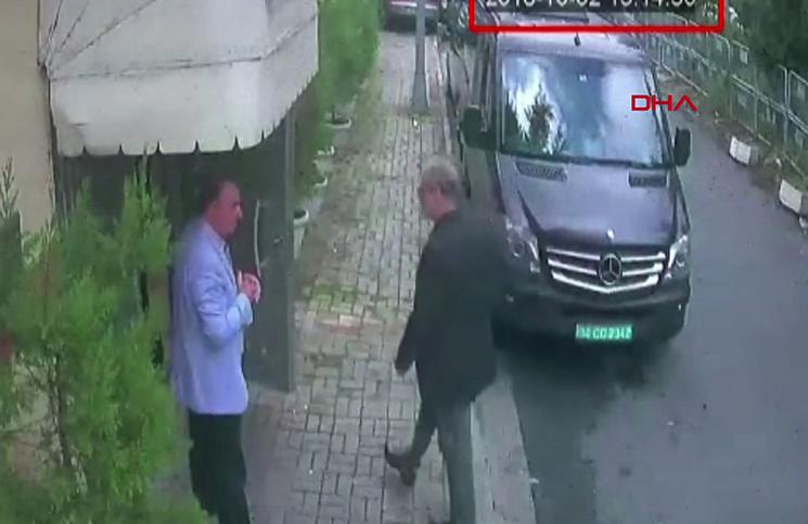 لحظة دخول جمال خاشقجي مبنى القنصلية السعودية في إسطنبول